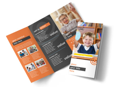 Academic Tutor & School Tri Fold Brochure Template preview