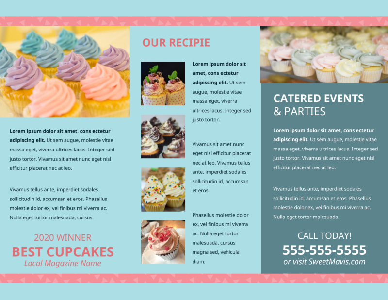Cupcake Bakery Brochure Template Preview 3
