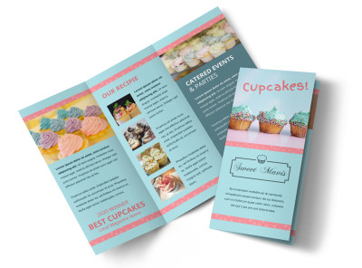 Cake Shop & Bakery Tri-Fold Brochure Template preview