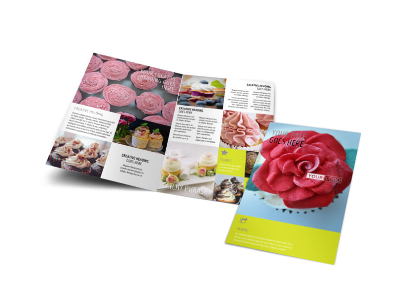 Cake shop bakery bi fold brochure template for Bakery brochure template free