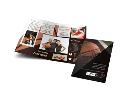 Basketball Sports Camp Bi-Fold Brochure Template preview