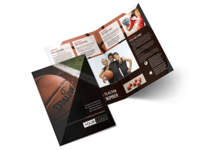 Basketball Sports Camp Bi-Fold Brochure Template 2