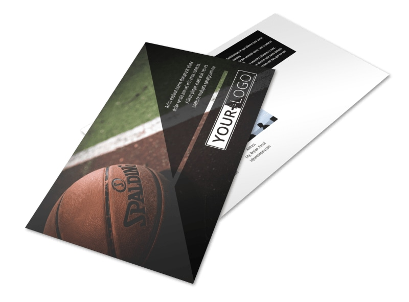 Basketball Sports Camp Postcard Template