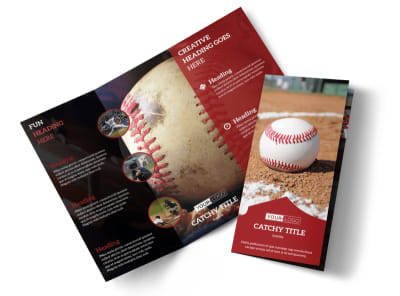 Baseball Sports Camp Tri-Fold Brochure Template preview