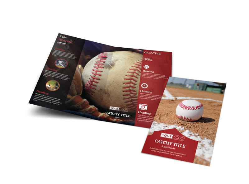 Baseball sports camp bi fold brochure template for Baseball brochure template
