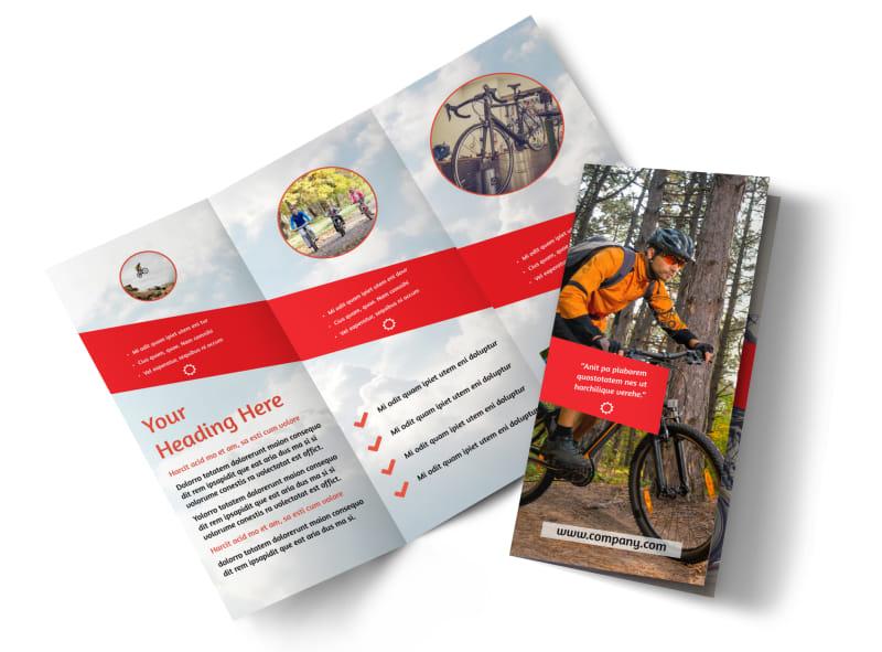 Bike Rentals & Mountain Biking Tri Fold Brochure Template