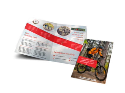 Bike Rentals & Mountain Biking Bi-Fold Brochure Template