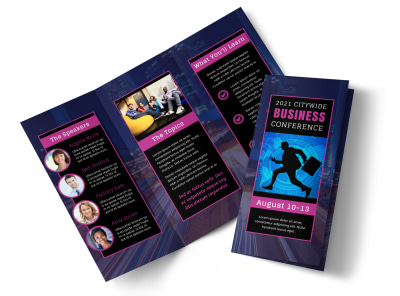 Business Leadership Conference Tri-Fold Brochure Template