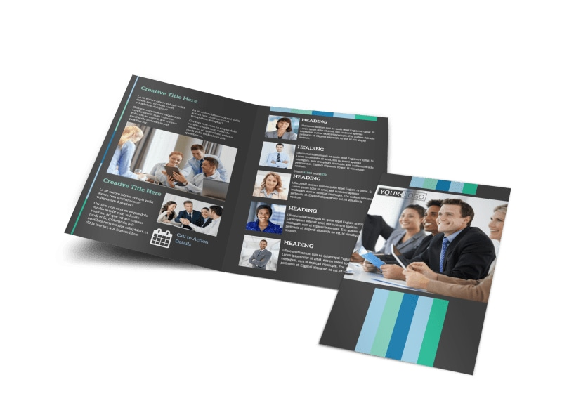 conference brochure templates - business leadership conference bi fold brochure template