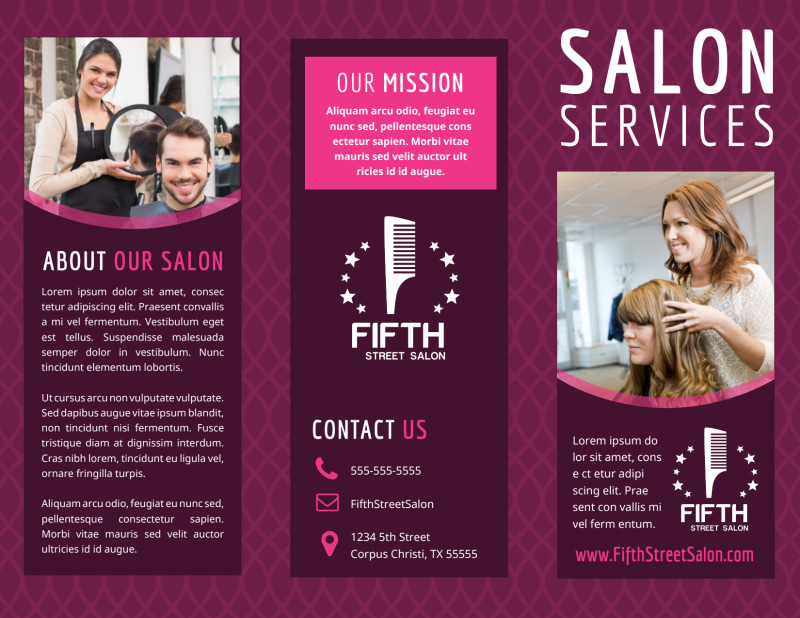 Beauty Parlour Brochure Template Preview 2