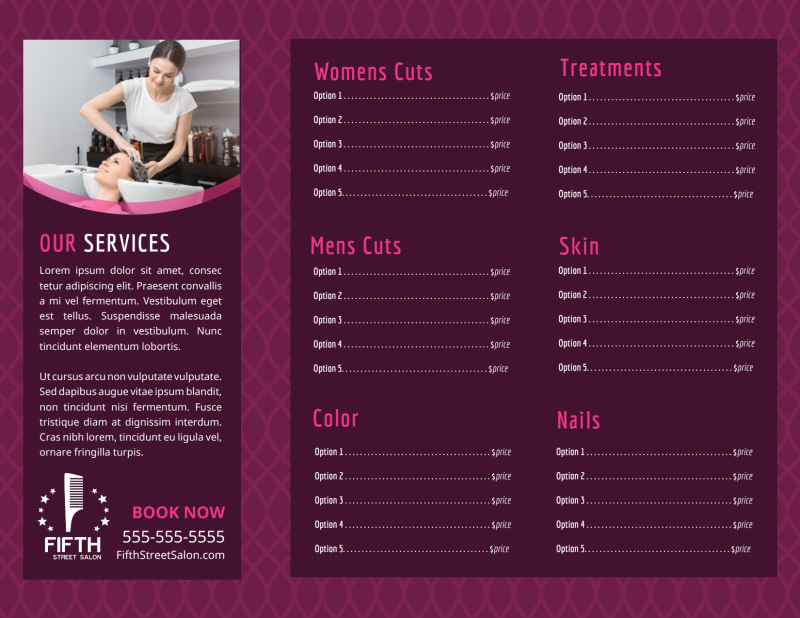 Beauty Parlour Brochure Template Preview 3