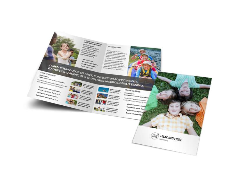 kids summer camp bi fold brochure template. Black Bedroom Furniture Sets. Home Design Ideas