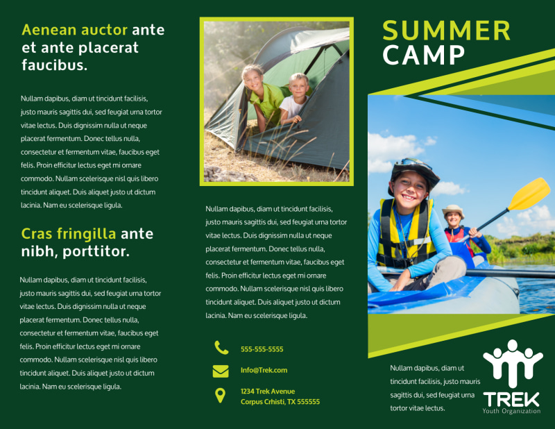 Youth Summer Camp Brochure Template Preview 2
