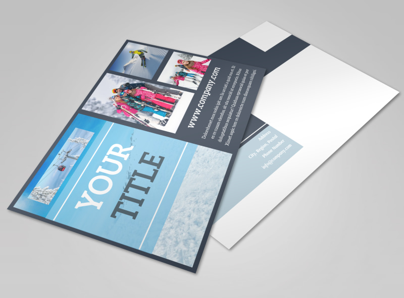 Big Mountain Ski Resort Postcard Template Preview 4