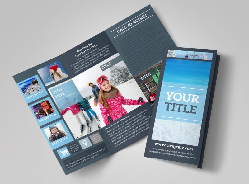 Big Mountain Ski Resort Tri-Fold Brochure Template