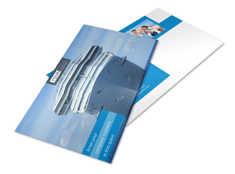 Cruise ship getaway postcard template mycreativeshop for Cruise ship brochure templates