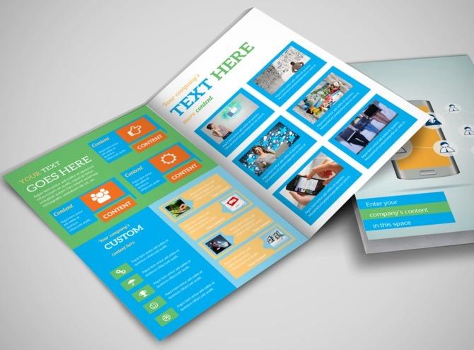 social media brochure template - social media marketing consultants bi fold brochure template