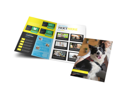 Shaggy Pet Grooming Bi-Fold Brochure Template preview