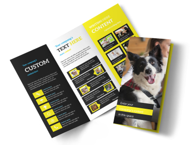 Shaggy Pet Grooming Tri-Fold Brochure Template preview