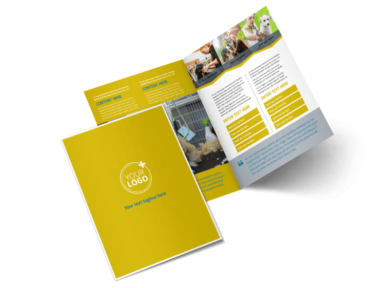 Pet Grooming Bundle Bi-Fold Brochure Template 2