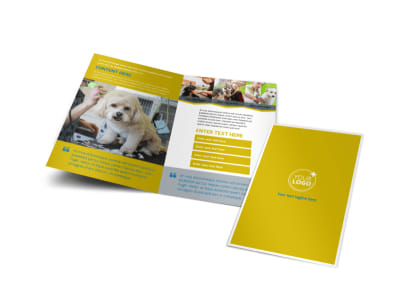 Pet Grooming Bundle Bi-Fold Brochure Template preview