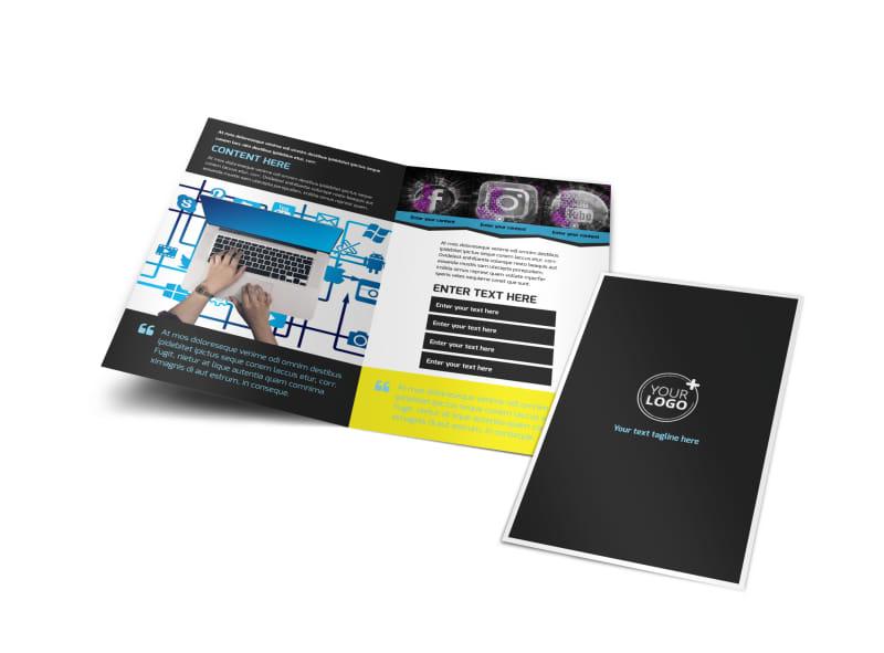 social media brochure template - social media marketing bi fold brochure template