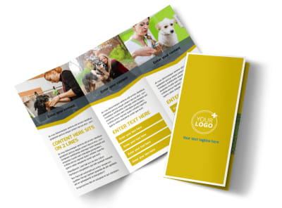 Pet Grooming Bundle Tri-Fold Brochure Template preview
