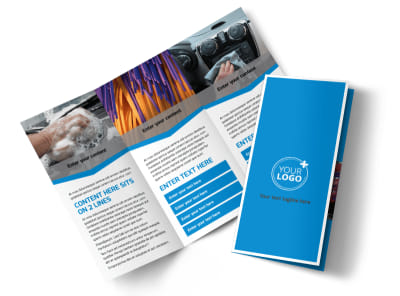 Car Wash Options Tri-Fold Brochure Template preview