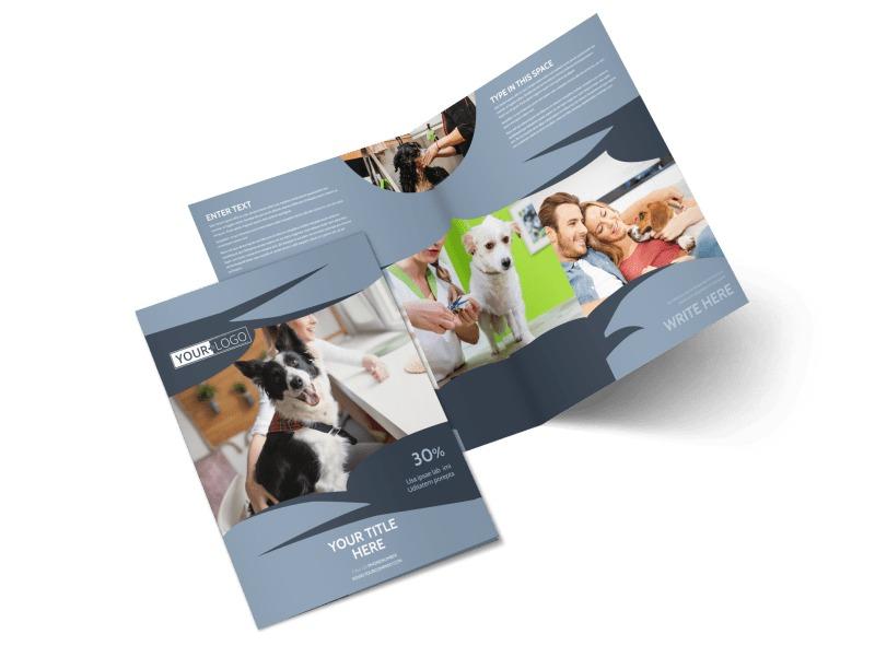 Pet Grooming Bi-Fold Brochure Template 2