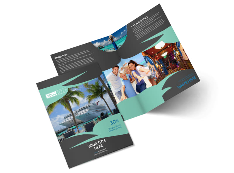Caribbean Cruise Ship Bi-Fold Brochure Template 2