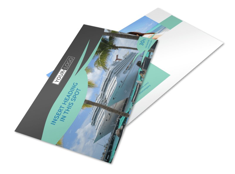 Caribbean cruise ship postcard template mycreativeshop for Cruise ship brochure templates