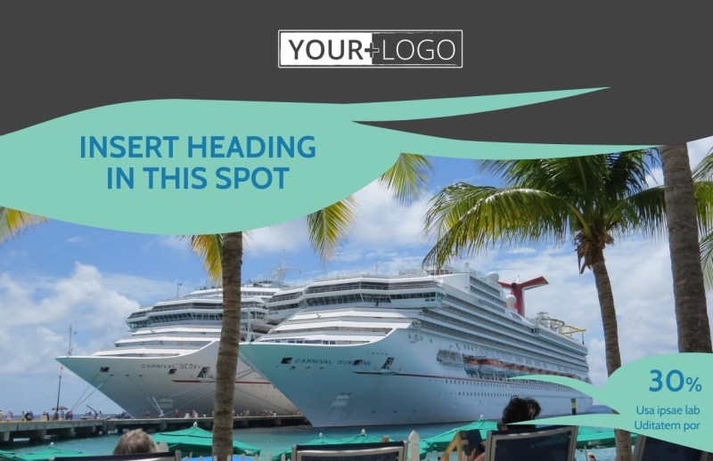 Caribbean Cruise Ship Postcard Template Preview 2