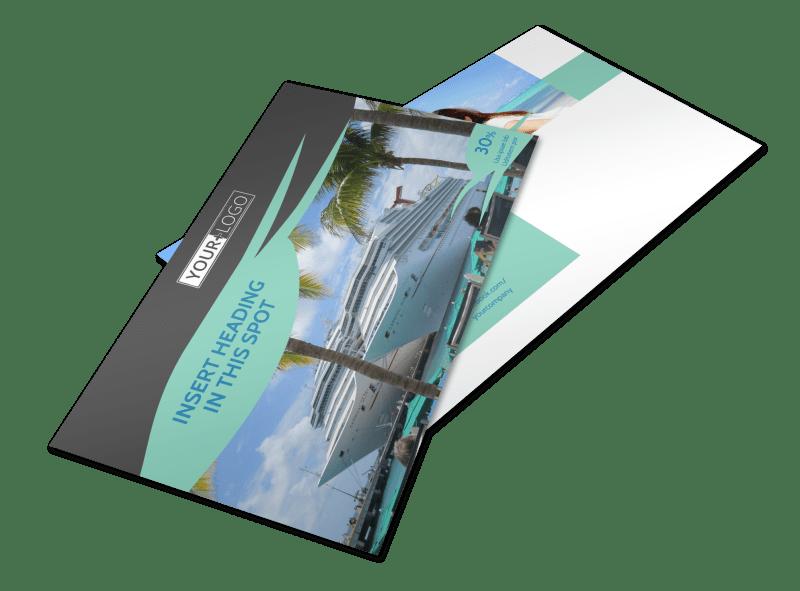 Caribbean Cruise Ship Postcard Template Preview 1