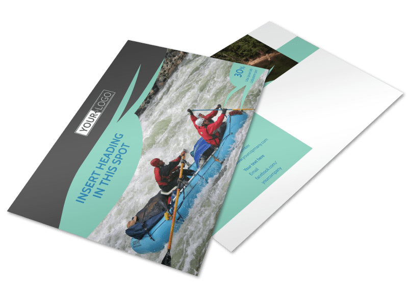 White Water Rafting Postcard Template Preview 1