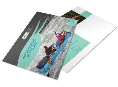 White Water Rafting Postcard Template