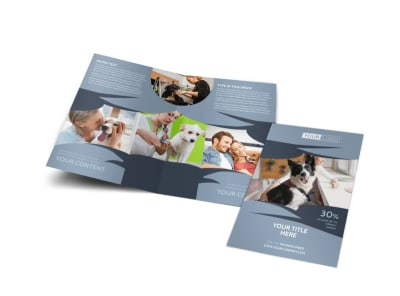 Pet Grooming Bi-Fold Brochure Template preview