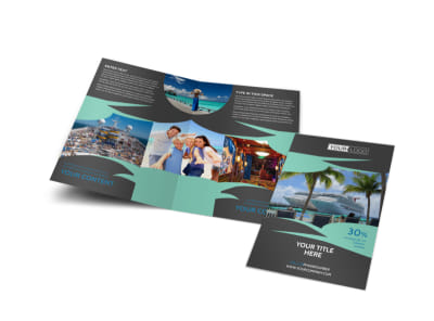 Caribbean Cruise Ship Bi-Fold Brochure Template
