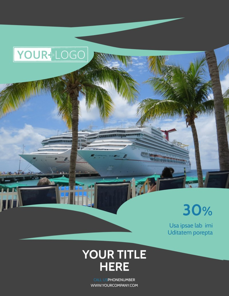 Caribbean Cruise Ship Flyer Template Preview 2