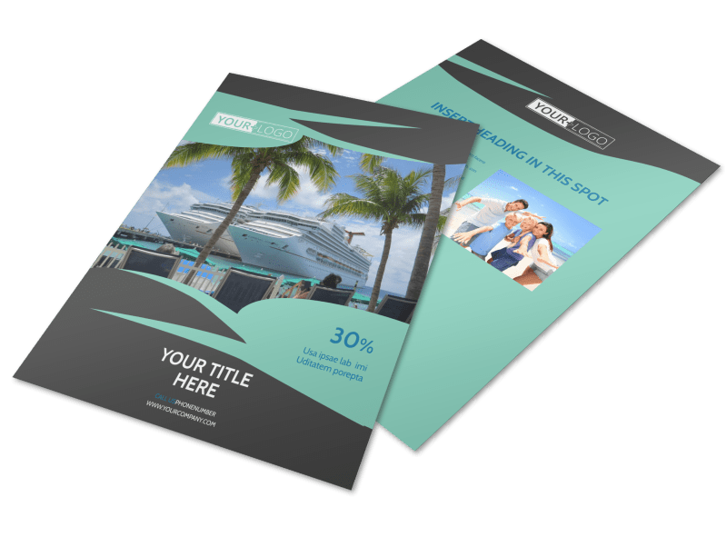 Caribbean Cruise Ship Flyer Template Preview 1