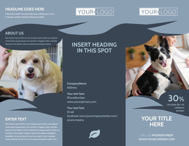 Pet Grooming Brochure Template Preview 2
