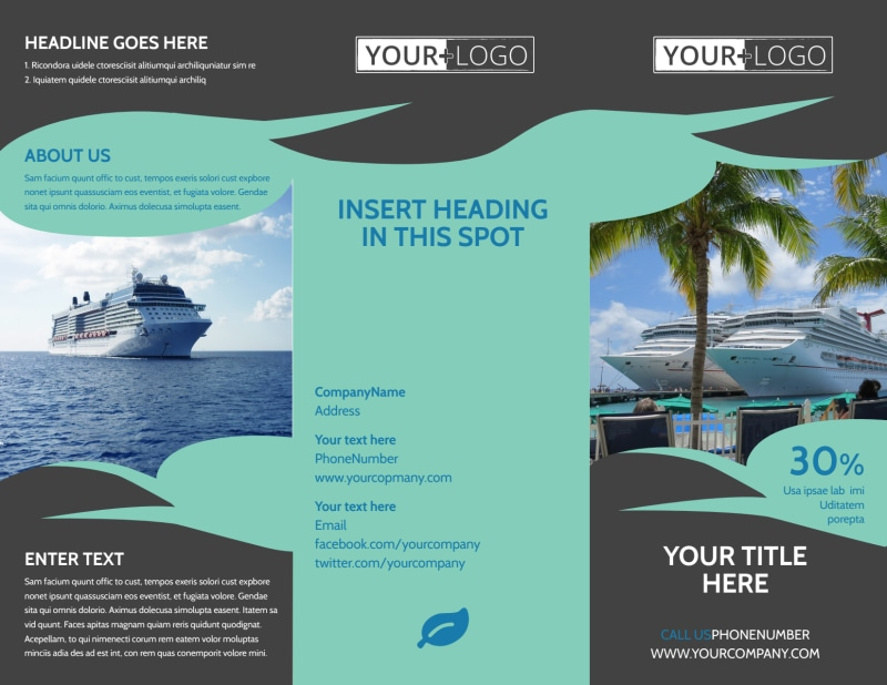 Caribbean Cruise Ship Brochure Template Preview 2