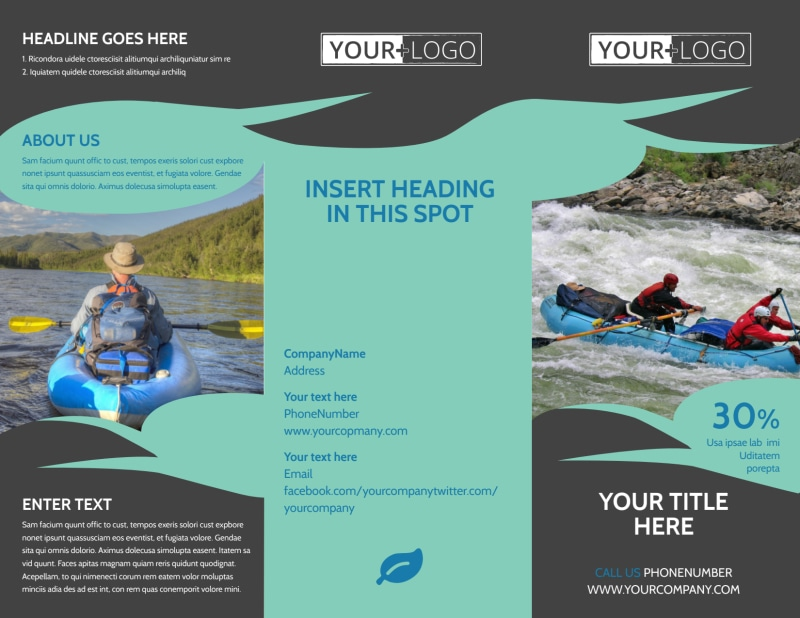 White Water Rafting Brochure Template Preview 2