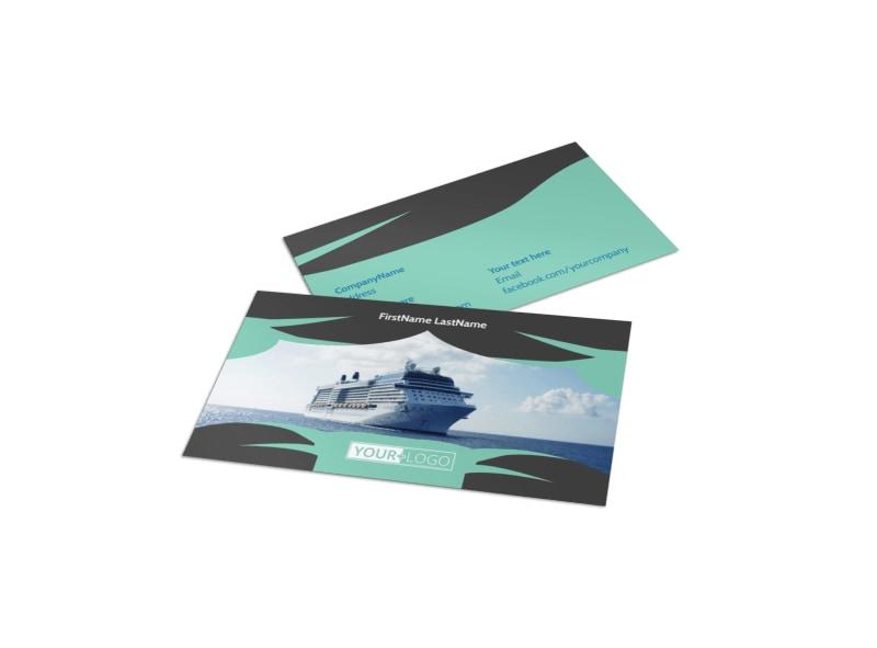 Caribbean Cruise Ship Business Card Template