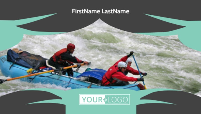 Whitewater Rafting Business Card Template Preview 2