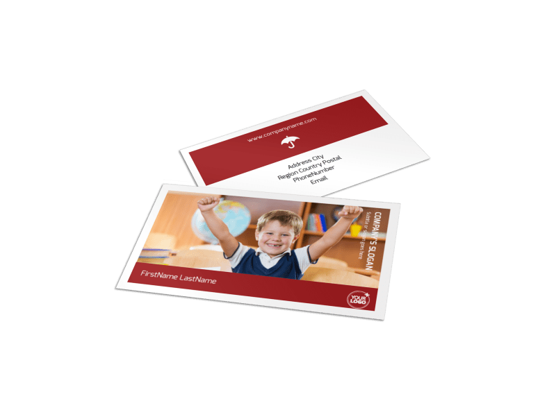 Catholic School Business Card Template Preview 1