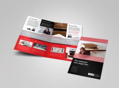 Litigation & Transactional Law Firms Bi-Fold Brochure Template preview
