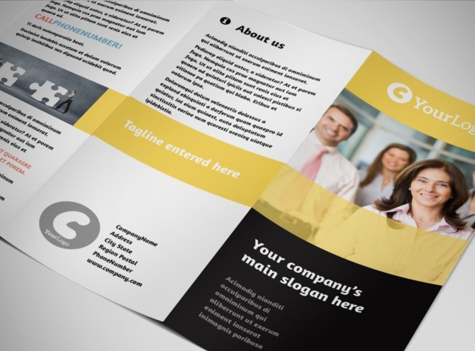 project brochure template - project management consulting firm tri fold brochure template