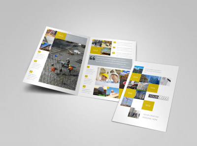 Commercial Construction Bi-Fold Brochure Template preview