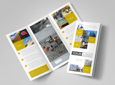 Commercial Construction Tri-Fold Brochure Template preview