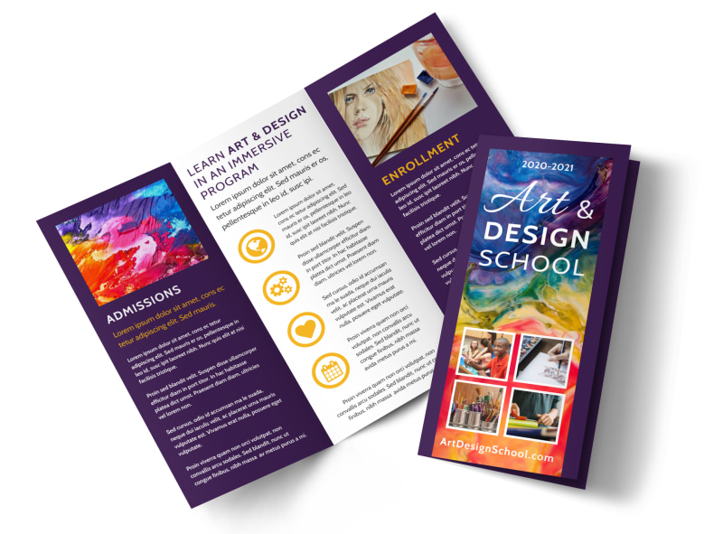 Art Design School Brochure Template MyCreativeShop - Tri fold school brochure template